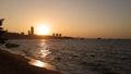Sunset the sun evening sea Stock Photo