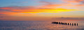 Sunset or sunrise landscape, panorama of beautiful nature Royalty Free Stock Photo