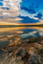 Sunset or sunrise over river Royalty Free Stock Image