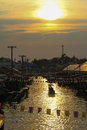 Sunset of thailand umphawa floating market in Royalty Free Stock Images