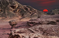 Sunset in timna park eilat israel geological formations and desert valley of Stock Images
