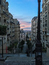 Sunset from the top of a Montmartre stairway in Paris, France Royalty Free Stock Photo