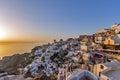 Sunset in town of oia santorini tira island cyclades greece Stock Photos