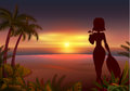 Sunset tropical beach. Beautiful young woman silhouette drinking cocktail Royalty Free Stock Photo