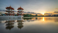 Sunset of Twin Towers, Chinese Garden Royalty Free Stock Photo