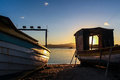 Sunset and two fishing boats at the Abraao beach - Florianopolis - Brazil Royalty Free Stock Photo