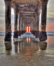 Sunset under the pier Royalty Free Stock Photo