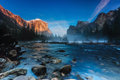 Sunset at valley view yosemite national park sunlight reflected on el capitan in a winter day Royalty Free Stock Image