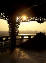 Sunset view of city and asian temple Royalty Free Stock Photo
