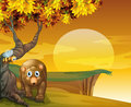 A sunset view at the cliff with a bear illustration of Royalty Free Stock Images