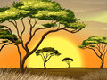 A sunset view at the forest illustration of Royalty Free Stock Image