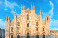 Sunset view of Milan Duomo Cathedral Royalty Free Stock Photo