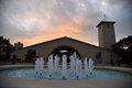 Sunset view in Napa Valley, fountain
