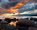 Sunset view over Baltic sea Stock Photos