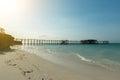 Sunset view on pier in ocean in Zanzibar Royalty Free Stock Photo