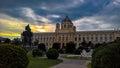 Sunset view to Maria-Theresien-Platz, Maria-Theresa statue and Culture Histori museum, Vienna, Austria