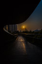 Sunset view under a pavilion in shanghai from on pedestrian bridge Stock Image