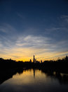 Sunset view of yarra river looking at melbourne city Royalty Free Stock Photo
