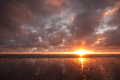 Sunset on west coast new zealand over south island along heaphy track great walk Stock Photography