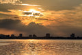 Sunset on west lake hanoi vietnam Stock Images