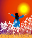 Sunset worship girl worshipping god at vector illustration Stock Photo