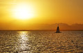 Sunset and yacht on Red Sea Royalty Free Stock Photo