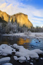 Sunset on yosemite in winter Royalty Free Stock Images