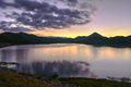 Sunsets landscape water storage dams beautiful and Royalty Free Stock Image