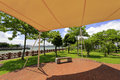 Sunshade and stone bench in gulangyu islet Royalty Free Stock Photo