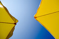 Sunshade yellow and blue sky Royalty Free Stock Image