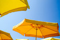 Sunshade yellow and blue sky Royalty Free Stock Photography