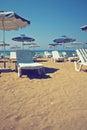 Sunshades on beach Royalty Free Stock Photo
