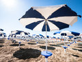 Sunshades at a beach in italy Royalty Free Stock Photos