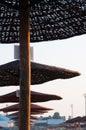 Sunshades row Royalty Free Stock Photo