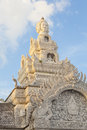 Sunshine on citi pillar shrine nan province the white gable ornament of city thailand Royalty Free Stock Photography