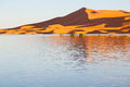 Sunshine in the lake and dune desert of morocco sand Royalty Free Stock Images