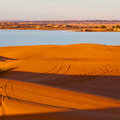 Sunshine in the lake yellow desert of morocco sand and dune Royalty Free Stock Image