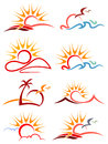 Sunshine logo set isolated line art Stock Photography