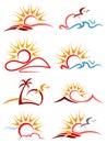 Sunshine logo set Royalty Free Stock Photo