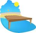 Sunshine mooring sunny day with sand observation wheel birds coast Royalty Free Stock Image