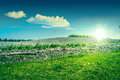 Sunshine over a beautiful countryside landscape high resolution photo in best quality Royalty Free Stock Photos