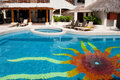 Sunshine shaped pool tiles Stock Images