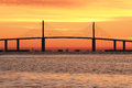 Sunshine Skyway bridge at sunrise Royalty Free Stock Photography