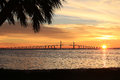 Sunshine Skyway Bridge in Florida at Sunrise Royalty Free Stock Photo