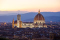 Sunst view of Cathedral Santa Maria del Fiore, Florence Royalty Free Stock Photo
