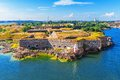 Suomenlinna sveaborg fortress in helsinki finland scenic summer aerial view of sea Royalty Free Stock Photo