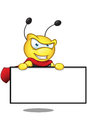 Super bee holding a blank board cartoon illustration of cute character Stock Image