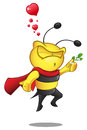 Super bee holding mistletoe a cartoon illustration of a cute character Stock Photos