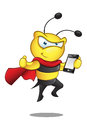 Super bee holding mobile a cartoon illustration of a cute character Royalty Free Stock Photography