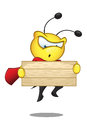 Super bee looking at wooden sign a cartoon illustration of a cute character Stock Photo